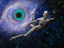 Man Flying In Deep Space