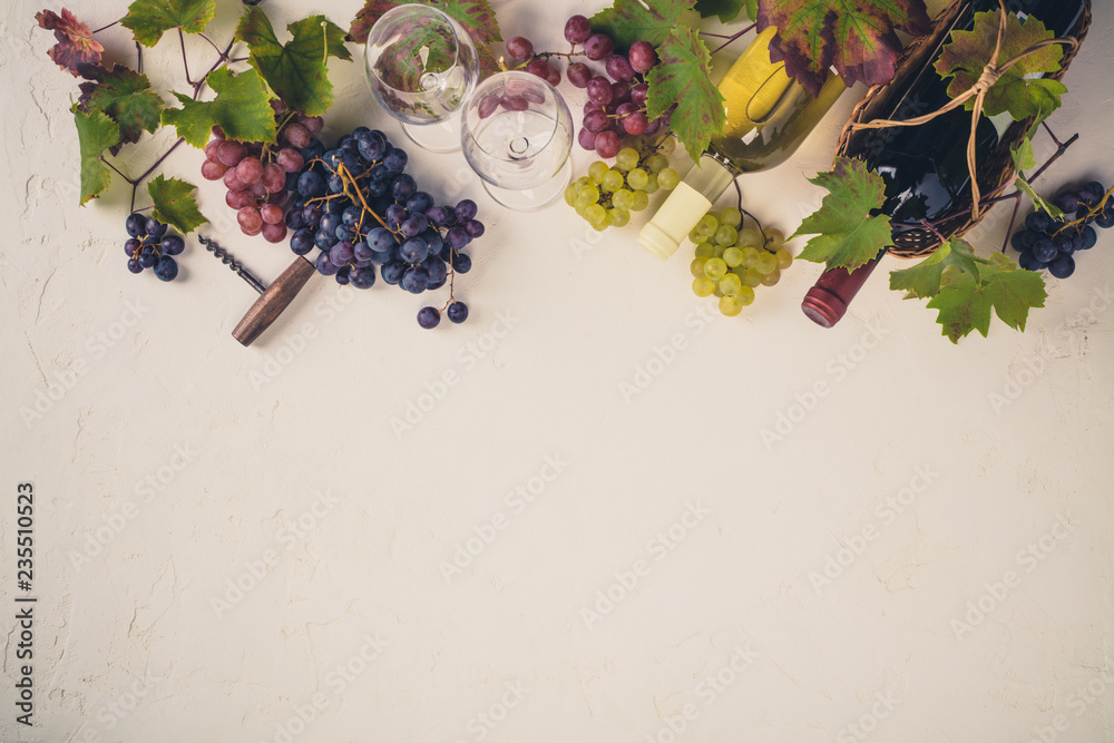 Fototapeta Wine composition on rustic background - space for text