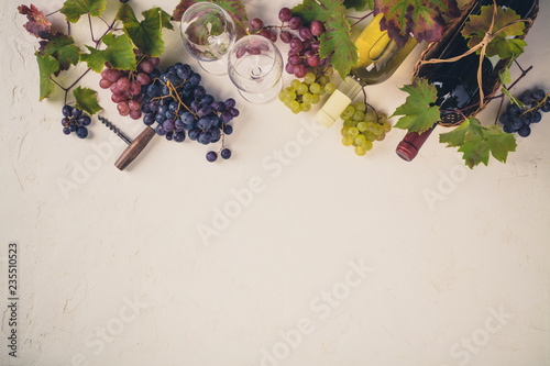 Fototapeta Wine composition on rustic background - space for text obraz