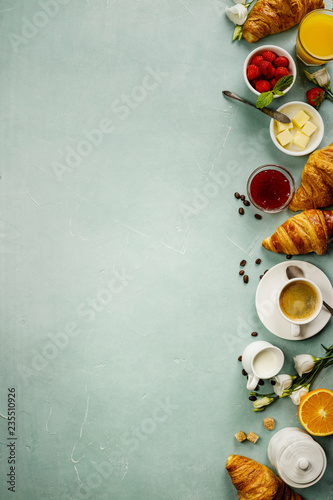 Fotografie, Obraz  Continental breakfast captured from above - space for text