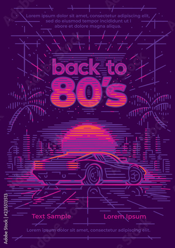 Back to 80's card/poster/flyer template Fototapet