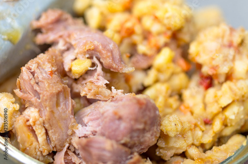 Meat with bulgur. Wheat cereal with meat.