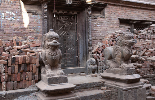 Foto op Canvas Asia land Ancient temple in Bhaktapur after the earthquake damage in Kathmandu valley, Nepal