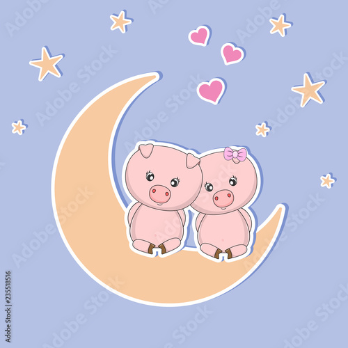 A beautiful two cute pigs in love sitting on the moon at night, look at the hearts and stars.