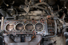 Head Gasket Failure On Old Car Engine Details, With Carbon Deposits And Oil Everywhere