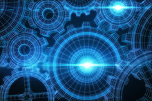 Glowing Blue Cogs Background