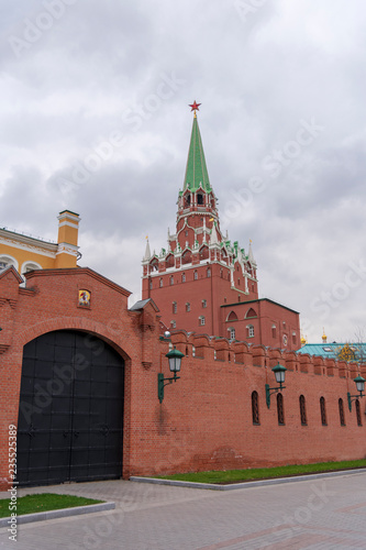 Red Square With Spasskaya Tower, Tsar Tower, Kremlin Wall and Moskva River view, Moscow, Russia