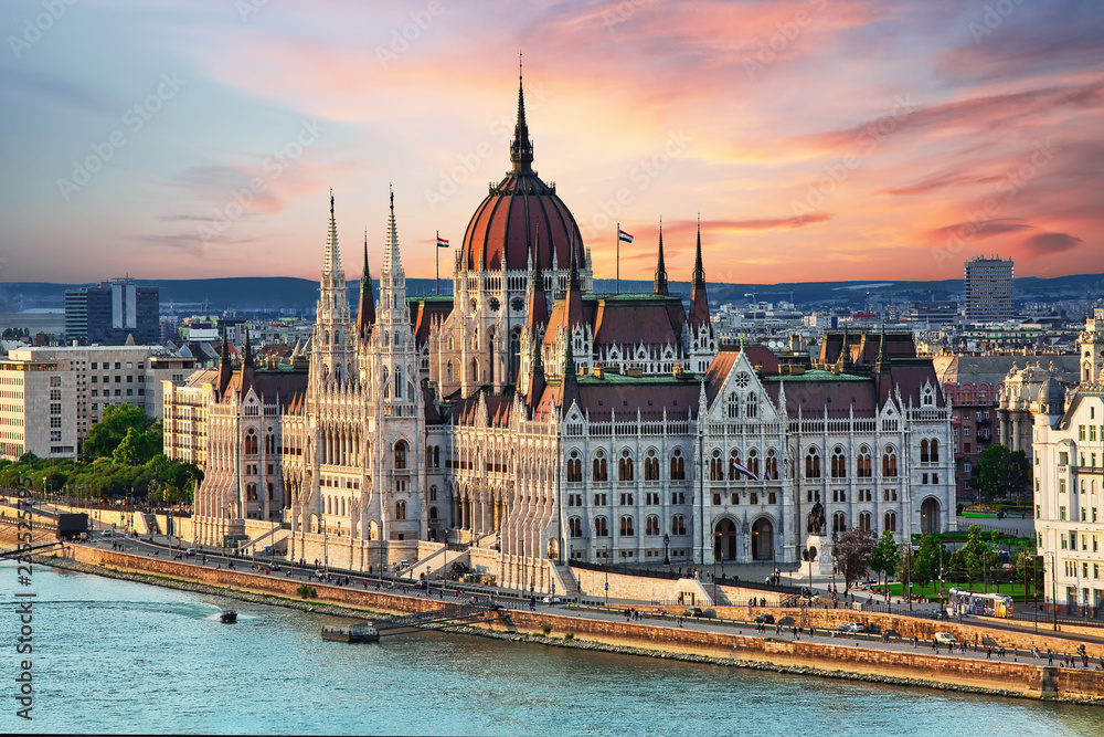 Fototapety, obrazy: Beautiful building of Parliament in Budapest, popular travel destination