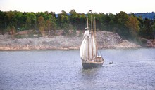 Sail Ship. Photo In Vintage Image Style