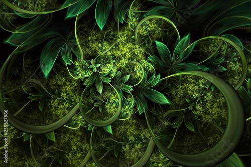 Abstrakcjonistyczny komputer wytwarzający rośliny fractal projekt. Cyfrowa grafika na tle tabletu, tapetę pulpitu lub kreatywnego projektu okładki.