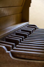 Pedalboard Of A Vintage Pipe Organ