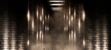 Background Of Empty Old Brick Wall, Open Elevator Doors, Neon, Spotlight, Smoke, Fog