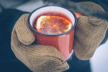 Mulled Wine In A Red Cup In Wo...