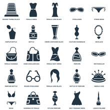 Elements Such As String Bikini, Sexy Feminine Dress In Black, Necklace, Handbag Of Female, Bikini, Needle Case, Hobo Shoulder Bag Icon Vector Illustration On White Background. Universal 25 Icons Set.