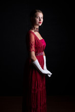 Edwardian Woman In Red Dress