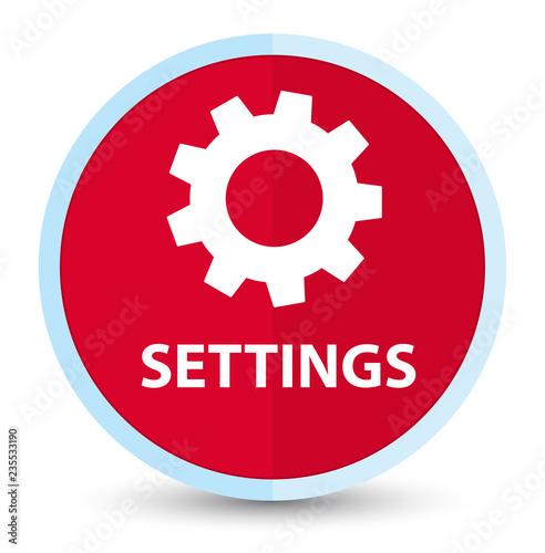 Fotografía  Settings flat prime red round button