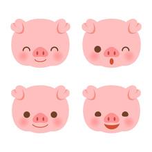 Cute Pig Faces Set