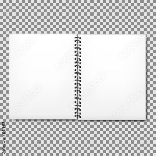 Printed kitchen splashbacks Spiral Blank realistic spiral notepad mockup for branding, isolated