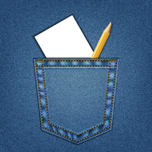 Jeans Pocket With Sheet Of White Paper And Pencil
