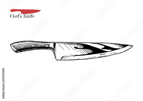 Cuadros en Lienzo illustration of chef's knife