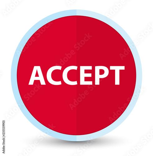 Fotografía  Accept flat prime red round button