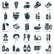 Elements Such As Deodorant, Towels, Shampoo, Skincare, Cream, Lipstick, Moisturizer, Comb, Mouthwash, Spray, Tea, Razor icon vector illustration on white background. Universal 25 icons set.