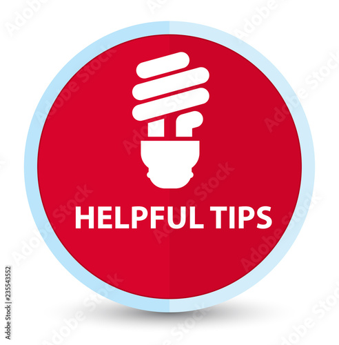 Fotografía  Helpful tips (bulb icon) flat prime red round button