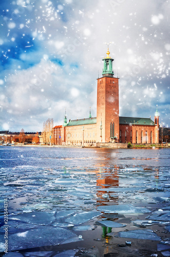 The City Hall Stadshuset in Stockholm with snow, Sweden
