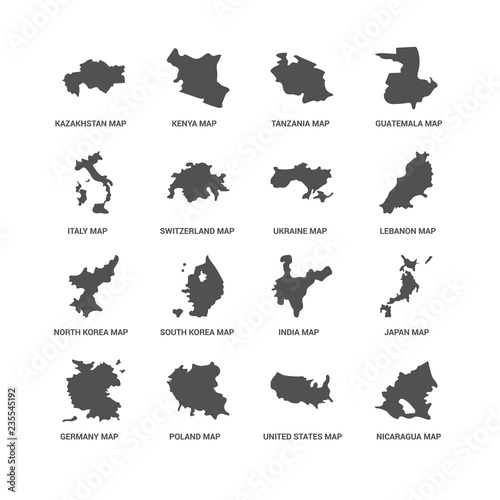 Photo sur Toile Papillons dans Grunge Nicaragua map, United States Kazakhstan Germany Japan India Tanz