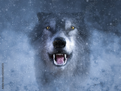 Photo 3D rendering of a grey wolf growling in snow.