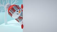 3d Render, Cute Snowman, Playi...