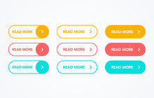 Read More Colorful Button Set On White Background. Flat Line Action Button Collection. Vector Web Element