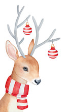 Smiling Reindeer Character Wit...