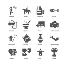 Stamp, Photo Camera, Piano, Boxing, Weightlifting, Dancing, Snor