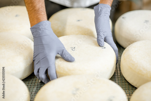 Deurstickers Bakkerij Worker in protective gloves taking fresh salted cheese wheel ready for aging process at the manufacturing. Close-up view