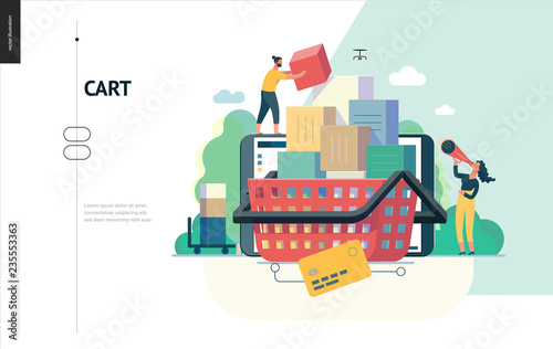 Fotografie, Obraz  Business series, color 1- cart - modern flat vector illustration concept of online shop - people placing boxes into the cart