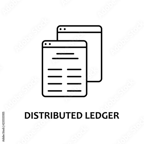 Photo distributed ledger icon with name