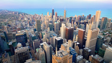 Aerial View Of Chicago City Sk...