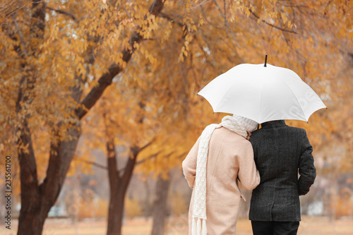 Young romantic couple with umbrella in park on autumn day