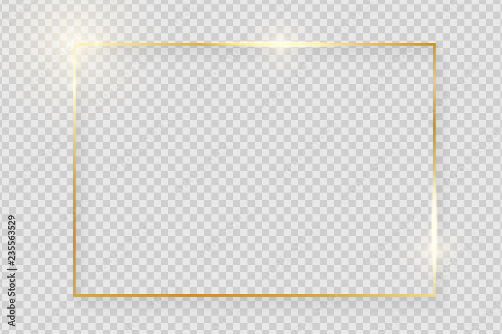 Fototapety, obrazy: Gold shiny glowing vintage frame with shadows isolated on transparent background. Golden luxury realistic rectangle border. Vector illustration