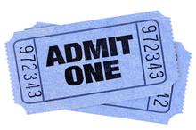 Two Blue Admit One Movie Tickets Stubs