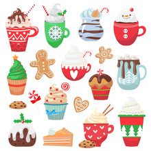 Set With Holiday Hot Drink And Dessert. Collection With Funny Cups. Cacao, Tea, Coffee, Chocolate, Milk, Cookie, Candy. Vector Illustration