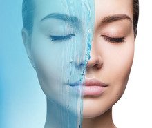 Sensual Woman Under Water Splash With Fresh Skin.