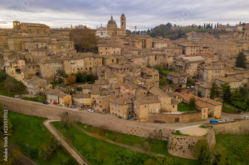 Aerial view of the Ducal Palace at the popular tourist destination world heritage site of Urbino in the Marche region Italy