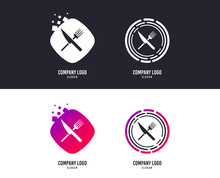 Logotype Concept. Food Sign Icon. Cutlery Symbol. Knife And Fork. Logo Design. Colorful Buttons With Food Icons. Vector