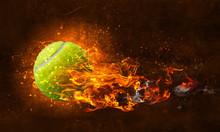 Tennis Ball In Fire
