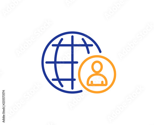 ed2c5eb375e7 International business recruitment line icon. Global human resources sign.  Colorful outline concept. Blue and orange thin line color icon.
