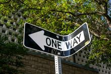 Bent One Way Sign