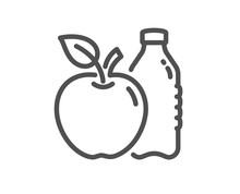 Apple Line Icon. Fruit, Water Bottle Sign. Natural Food Symbol. Quality Design Flat App Element. Editable Stroke Apple Icon. Vector