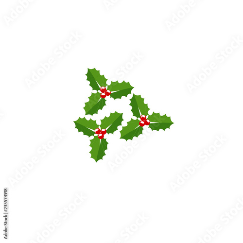 Christmas Holly Cartoon.Christmas Holly Berry Leaves Vector Cartoon Holiday Vintage